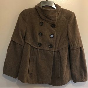 Ann Taylor Loft Brown Wool Coat Petite